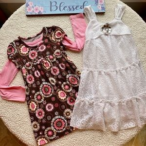 OshKosh & IZ Amy Byer Dress White Pink Size 6 & 6X